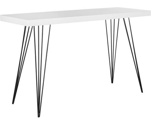 Consola artesanal Wolcott, Tablero: fibras de densidad media,, Patas: hierro con pintura en pol, Blanco, negro, An 139 x F 44 cm