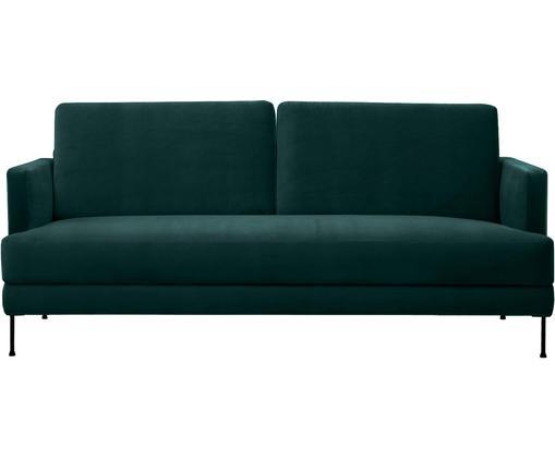 Samt-Sofa Fluente (3-Sitzer), Bezug: Samt (Polyester) 100.000 , Gestell: Massives Kiefernholz, Füße: Metall, lackiert, Samt Dunkelgrün, B 197 x T 83 cm