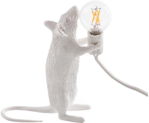 Design Tischleuchte Mouse, Kunstharz, Weiß, 6 x 15 cm