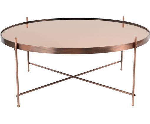 Tavolino-vassoio con piano in vetro Cupid, Struttura: metallo ramato, Piano d'appoggio: vetro, Rame, Ø 43 x Alt. 45 cm