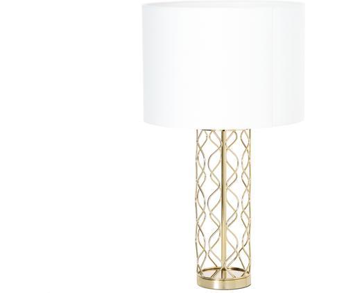 Lampa stołowa Adelaide, Klosz: kremowy Podstawa lampy: odcienie złotego, Ø 35 x W 62 cm