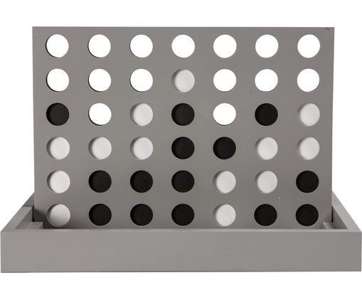 Gesellschaftsspiel 4 in a Row, Holz, lackiert, Grau, 26 x 19 cm