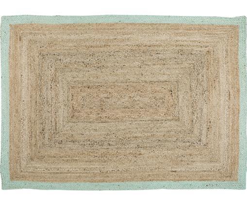 Tappeto in juta tessuto a mano Shanta, Vello: juta, Retro: juta, Juta, verde menta, Larg. 160 x Lung. 230 cm