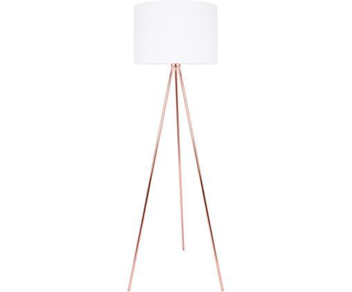 Lampada da terra in rame Vivi, Paralume: tessuto, Base della lampada: metallo, Paralume: bianco, base della lampada: color rame, cavo: bianco, Ø 40 x Alt. 158 cm