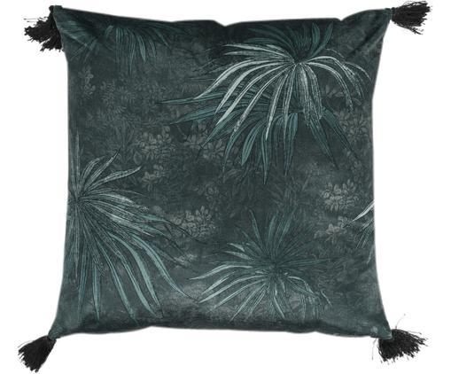 Kissenhülle Jangala mit Blattmuster und Quasten, Vorderseite: 50% Polyester, 50%Baumwo, Rückseite: Baumwolle, Blautöne, 50 x 50 cm