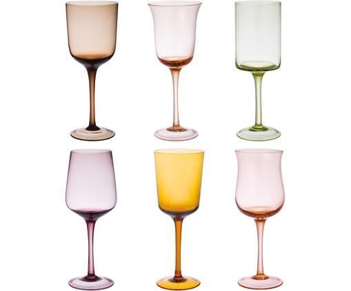 Verres à vin bigarrés soufflés bouche Desigual, 6élém., Brun, tons roses, vert, jaune, lilas