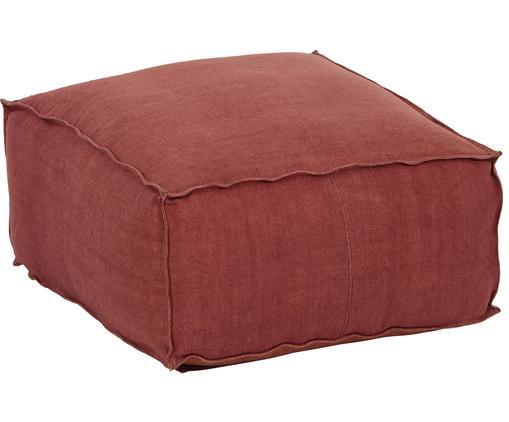 Ręcznie wykonana poduszka podłogowa z lnu Saffron, Tapicerka: len, Rudy, S 50 x W 25 cm