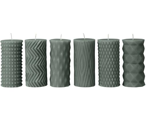 Set candele pilastro Mix Rhomb, 6 pz., 95% paraffina, 5% cera di soia, Timo verde, Ø 7 x A 14 cm