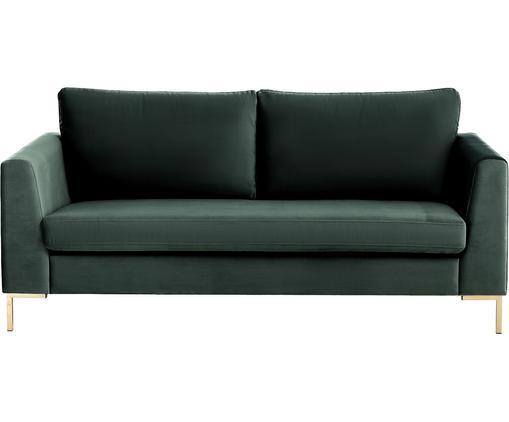 Samt-Sofa Luna (2-Sitzer), Bezug: Samt (Polyester) 80.000 S, Gestell: Massives Buchenholz, Füße: Metall, galvanisiert, Dunkelgrün, B 172 x T 95 cm