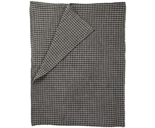 Waffelpiqué-Tagesdecke Kikai in Grau, 100% Baumwolle, Grau, 180 x 260 cm