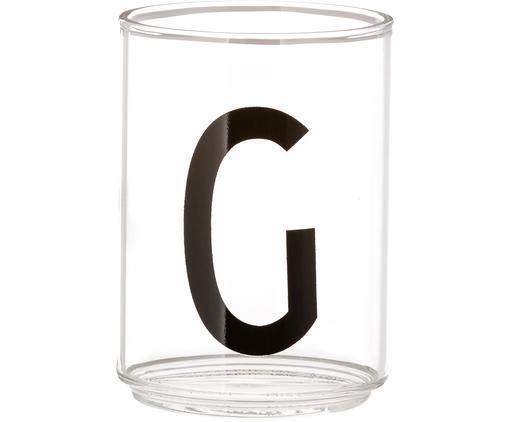 Design Wasserglas Personal mit Buchstaben (Varianten von A bis Z), Borosilikatglas, Transparent, Schwarz, Wasserglas G