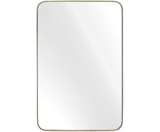 Eckiger Wandspiegel Adela mit Goldrahmen, Rahmen: Metall, vermessingt, Spiegelfläche: Spiegelglas, Rückseite: Mitteldichte Holzfaserpla, Messing, 50 x 76 cm