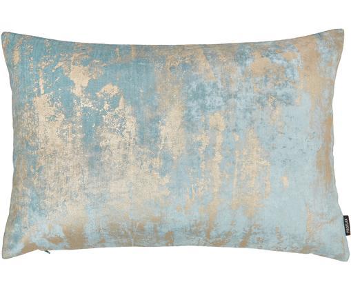 Samt-Kissenhülle Shiny mit schimmerndem Vintage Muster, Polyestersamt, Helles Türkis, 40 x 60 cm