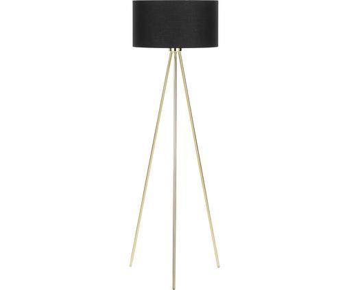 Stehlampe Cella, Lampenschirm: Baumwolle, Lampenfuß: Metall, Schwarz, Goldfarben, Ø 45 x H 148 cm