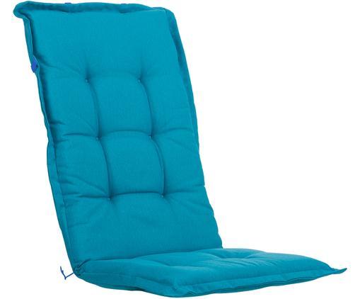 Einfarbige Hochlehner-Stuhlauflage Panama, Bezug: 50% Baumwolle, 50%Polyes, Türkisblau, 50 x 123 cm