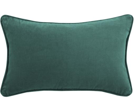 Einfarbige Samt-Kissenhülle Dana in Smaragdgrün, Baumwollsamt, Smaragdgrün, 30 x 50 cm