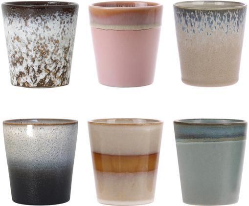 Set 6 tazze fatte a mano 70's, Ceramica, Rosa, beige, blu, Ø 8 x Alt. 8 cm