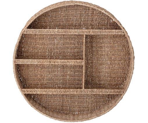 Rundes Rattan-Wandregal Bankuan, Bankuan Gras, Rattan, Metall, beschichtet, Braun, Ø 76 x T 14 cm