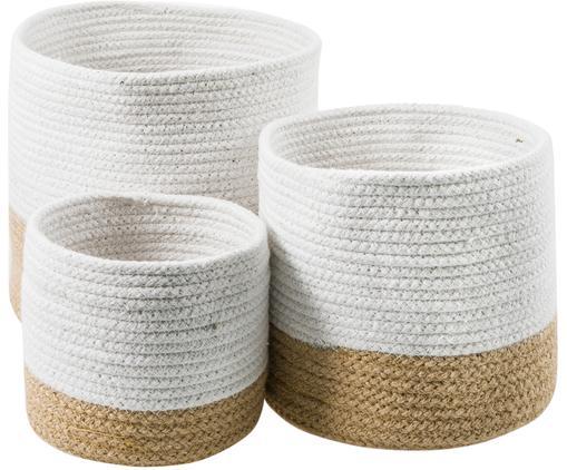 Korb-Set Caisa, 3-tlg., Recycelte Baumwolle, Jute, Weiß, Beige, Sondergrößen