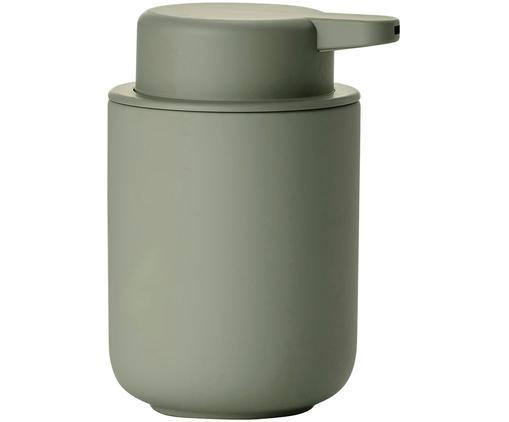 Dozownik do mydła z kamionki Omega, Eukaliptusowy zielony, Ø 8 x W 13 cm
