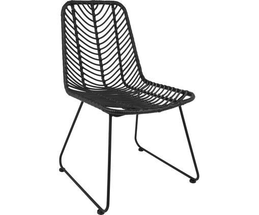 Krzesło z polirattanu Providencia, Stelaż: metal malowany proszkowo, Czarny, S 44 x G 55 cm