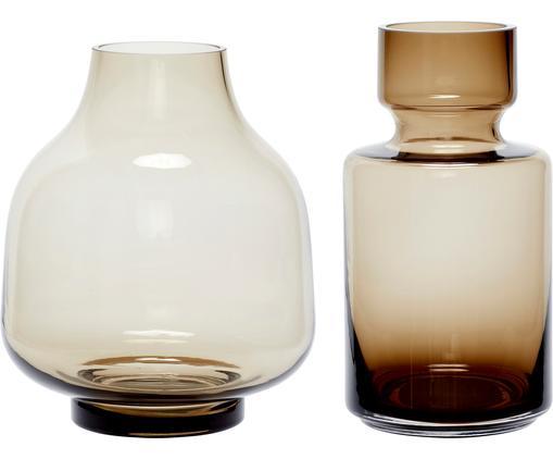 Komplet wazonów ze szkła Mary-Jane, 2elem., Szkło, Jasny brązowy, transparentny, Różne rozmiary