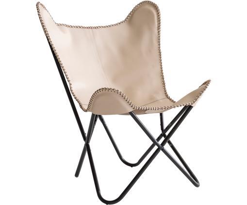 Fotel ze skóry Amorica, Stelaż: metal lakierowany, Beżowy, czarny, S 76 x G 68 cm