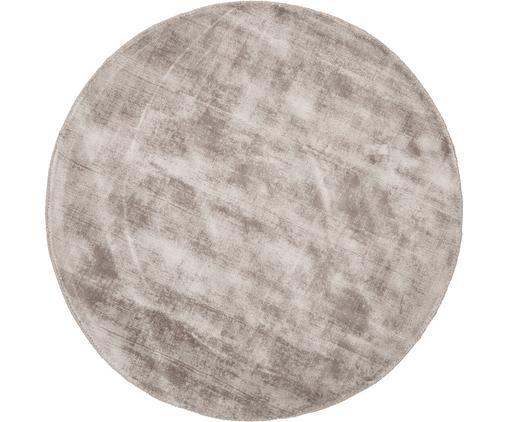 Tappeto rotondo in viscosa tessuto a mano Jane, Retro: 100% cotone, Taupe, Ø 120 cm (taglia S)