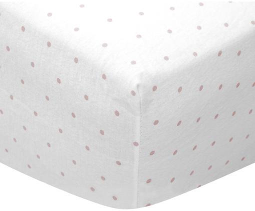 Sábana bajera de franela Elisa, 100%franela de algodón, Rosa palo, blanco, Cama 90 cm (90 x 200 cm)