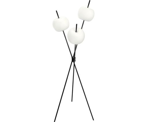 Lampa podłogowa z funkcją przyciemniania Kushi, Szkło trawione, mosiądz malowany proszkowo, Czarny, biały, Ø 56 x W 140 cm