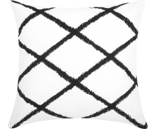Funda de cojín Laila, Algodón, Blanco, negro, An 45 x L 45 cm