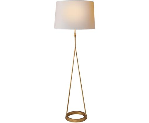 Stehlampe Dauphine, Messing, Lampenfuß: Metall, vermessingt, Lampenschirm: Leinen, Lampenfuß: Messing, Antik-Finish<br>Lampenschirm: Weiß, Ø 47 x H 137 cm
