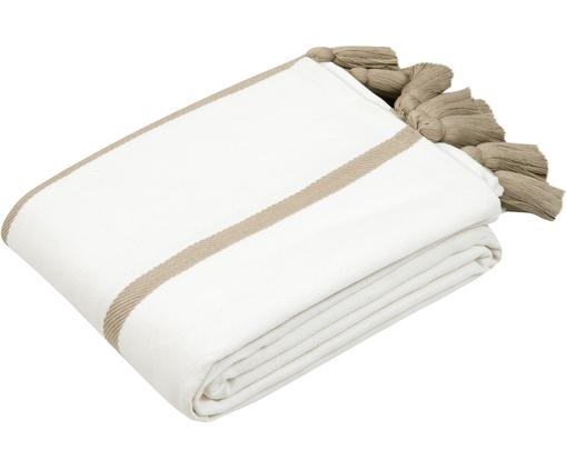 Gestreifte Tagesdecke Joe mit Quasten, Baumwolle, Cremeweiß, Taupe, 160 x 200 cm