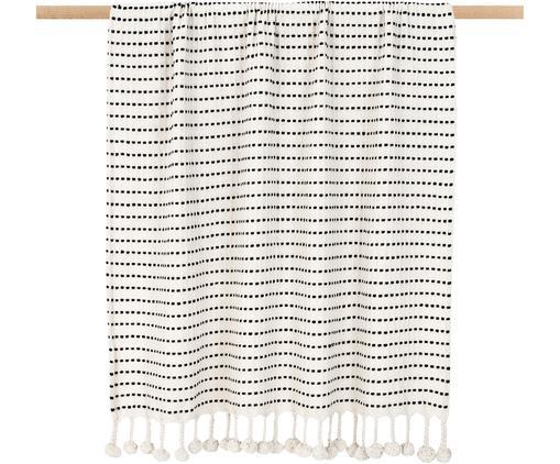 Plaid Molly mit Pompoms, 100% Baumwolle, Schwarz, Beige, 130 x 170 cm