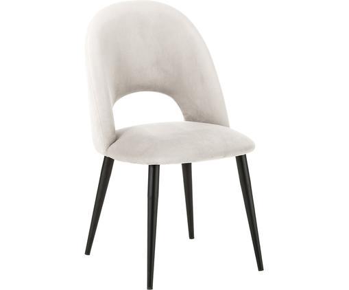 Krzesło tapicerowane z aksamitu Rachel, Tapicerka: aksamit (wysokiej jakości, Nogi: metal malowany proszkowo, Aksamitny beżowy, S 53 x G 57 cm