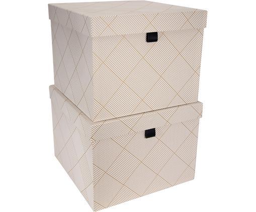 Set scatole custodia Tristan, 2 pz., Dorato, bianco
