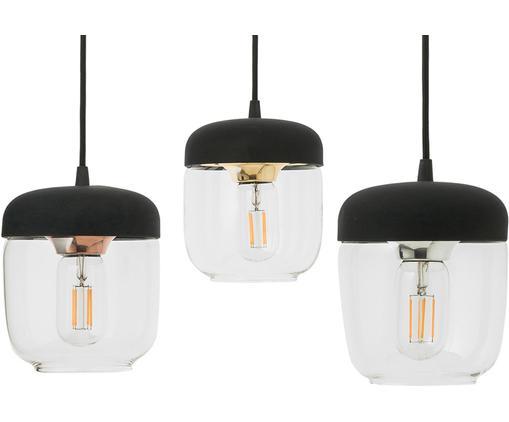 Lampada a sospensione Cannonball Acorn, Baldacchino: silicone, Nero, dorato, Configurabile individualmente fino a 2,5 metri di altezza di sospensione