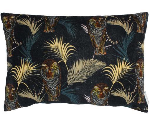 Samt-Kissen Tropical Tiger, mit Inlett, Samt, Schwarz, Mehrfarbig, 40 x 60 cm