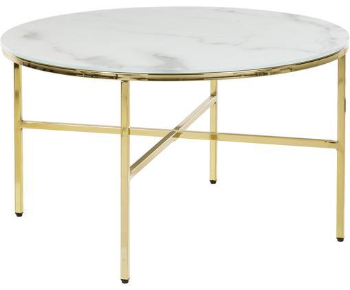 Tavolino da salotto con piano in vetro Antigua, Piano d'appoggio: vetro smerigliato con lam, Struttura: metallo zincato, Bianco-grigio marmorizzato, dorato, Ø 78 x Alt. 45 cm