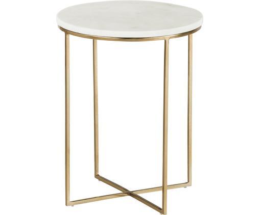 Table d'appoint ronde en marbre Alys, Plateau: marbre blanc-gris Structure: couleur dorée, brillant