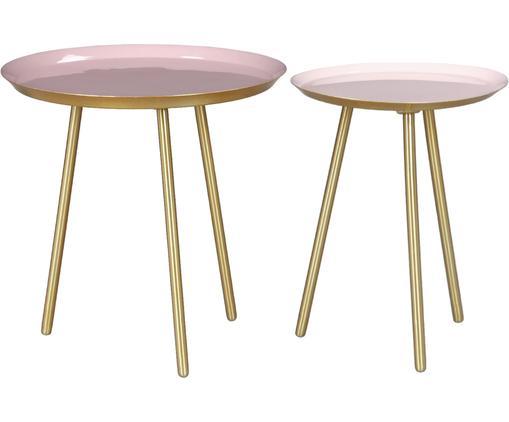 Set 2 tavolini in metallo Carry, Piedini: metallo verniciato a polv, Piano d'appoggio: metallo smaltato, Oro, rosa, Ø 40 x Alt. 40 cm