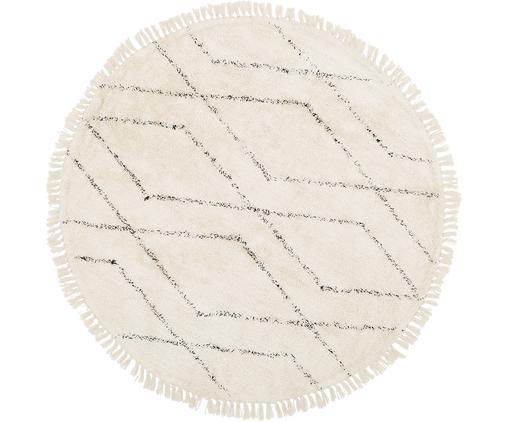 Alfombra redonda artesanal de algodón Bina, Beige, negro, Ø 150 cm (Tamaño M)