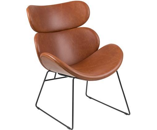 Fauteuil lounge moderne en cuir synthétique Cazar, Cognac, noir