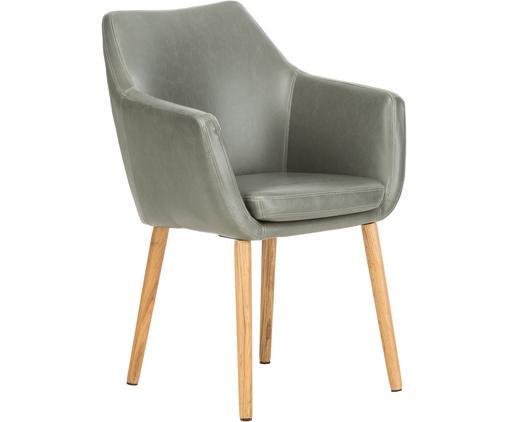 Sedia con braccioli  Nora, Rivestimento: similpelle (poliuretano), Gambe: legno di quercia, Similpelle grigio chiaro, gambe legno di quercia, Larg. 56 x Prof. 55 cm