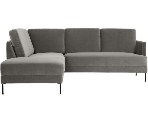 Sofa narożna z aksamitu Fluente, Tapicerka: aksamit (wysokiej jakości, Stelaż: lite drewno sosnowe, Nogi: metal lakierowany, Szarobrązowy aksamit, S 221 x G 200 cm