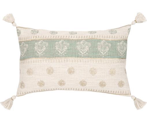 Federa arredo con nappe Jasmine, Cotone, Beige, verde menta, dorato, Larg. 30 x Lung. 50 cm