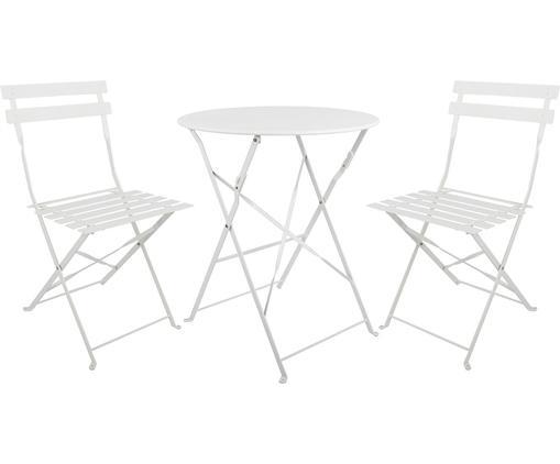 Garten-Sitzgruppe Chelsea aus Metall, 3-tlg., Metall, pulverbeschichtet, Weiß, Sondergrößen