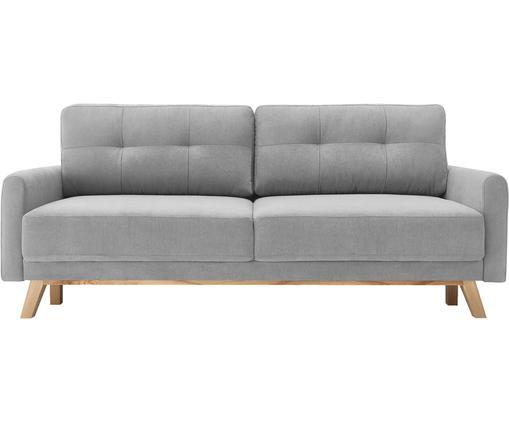 Fluwelen slaapbank Balio (3-zits), Bekleding: 100% polyester fluweel, Poten: gelakt metaal, Frame: massief hout en spaanplaa, Lichtgrijs, B 216 x D 86 cm