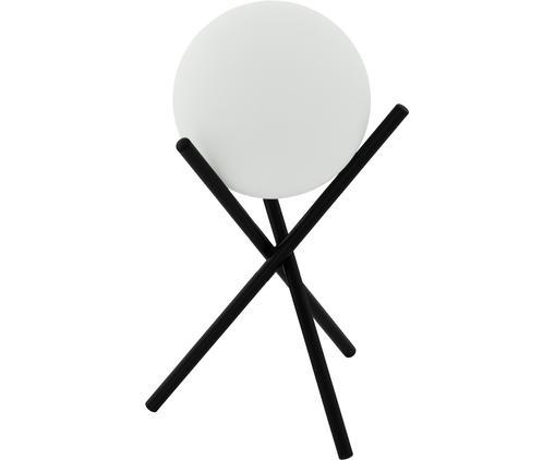 Lampada da tavolo in vetro opale Castellato, Base della lampada: acciaio, verniciato, Paralume: vetro opale, Nero, bianco, Ø 21 x Alt. 33 cm