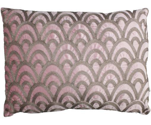 Samt-Kissen Trole mit glänzender Stickerei, mit Inlett, Samt, Pink, Silberfarben, 40 x 60 cm